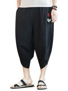 Embroidery Chinese Oriental Cropped Pants - Black 2xl