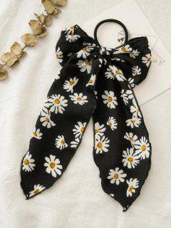 Daisy Print Bowknot Hair Elastic - Black