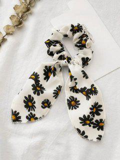 Chouchou Rétro Marguerite Imprimée En Tissu Avec Nœud Papillon - Blanc