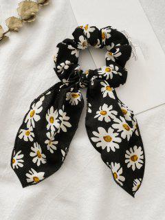 Retro Bowknot Daisy Print Fabric Scrunchy - Black