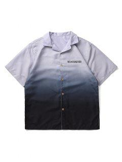Button Up Camp Collar Ombre Shirt - Dark Slate Blue M
