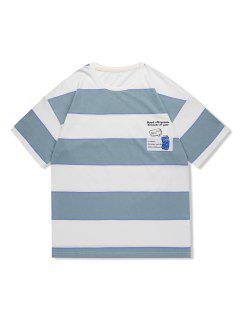 Striped Pop Can Graphic Drop Shoulder Casual T Shirt - Blue Gray 2xl