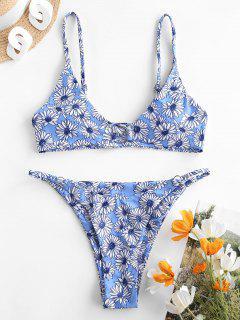 ZAFUL Bikini Floral Con Anillo - Cielo Azul Oscuro M