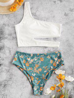ZAFUL Ribbed Floral Cutout One Shoulder Tankini Swimwear - Greenish Blue Xl