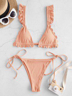 ZAFUL My Aurantia Wings Scalloped String Bikini Swimwear - Deep Peach S