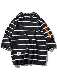 Letter Graphic Print Striped T-shirt - Black Xl