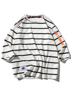 Maglietta A Righe Con Motivo Grafico A Lettera - Bianca 2xl