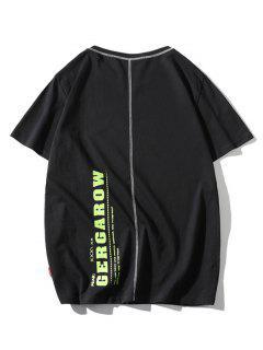 Letter Print Stitching Short Sleeve T-shirt - Black M