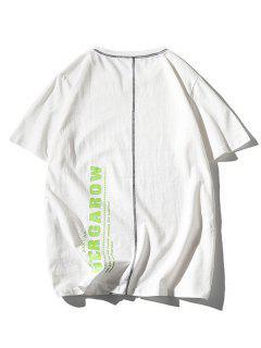 T-shirt Couture Lettre Imprimé à Manches Courtes - Blanc L