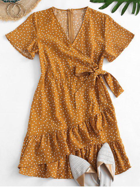 hot Dotted Tie Waist Ruffles Mini Dress - YELLOW M Mobile