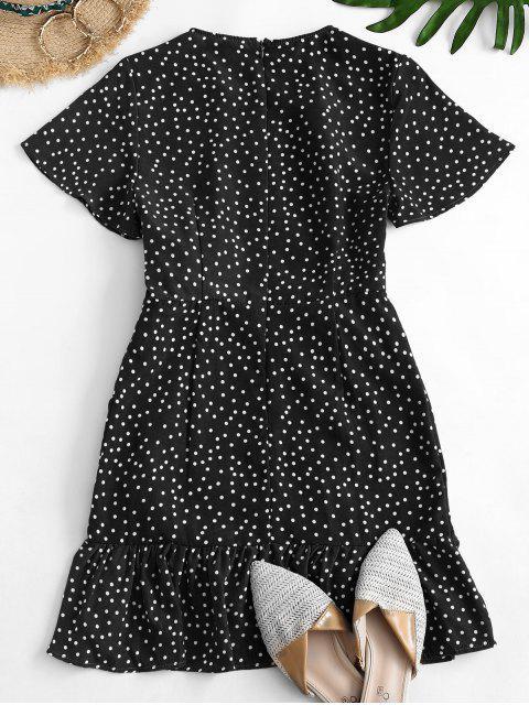 Gepunktetes Minikleid mit Rüschen - Schwarz S Mobile