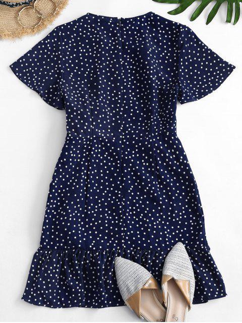 shops Dotted Tie Waist Ruffles Mini Dress - BLUE S Mobile