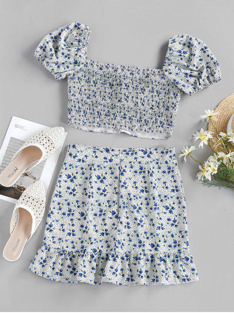 sale ZAFUL Floral Polka Dot Smocked Twisted Mermaid Skirt Set - MULTI S Mobile