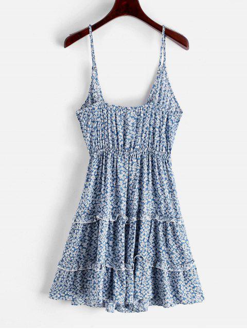 ZAFUL Robe d'Eté Superposée Fleurie Imprimée - Bleu Océan XL Mobile