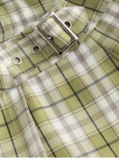 latest Plaid Buckled A Line Skirt - MULTI-B S Mobile