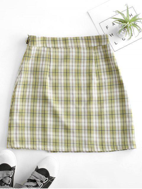 lady Plaid Buckled A Line Skirt - MULTI-B XL Mobile