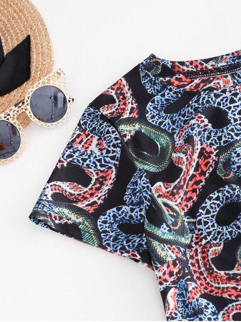 women ZAFUL Cropped Animal Snake Print Two Piece Dress - BLACK S Mobile