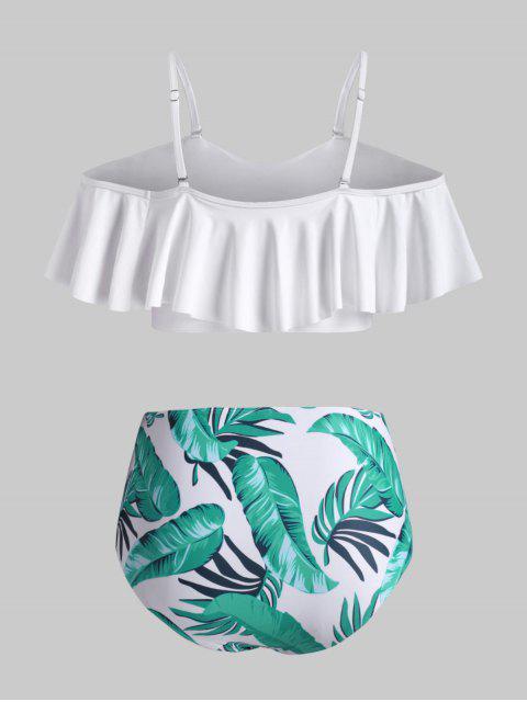 ZAFUL Maillot de Bain Bikini Superposé Feuille Tropicale de Grande Taille à Volants - Blanc 3XL Mobile