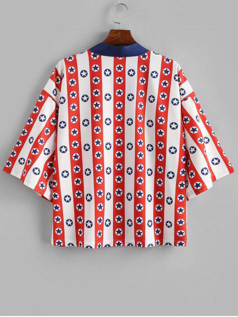 women Star Striped Printed Short Sleeves Shirt - WHITE 2XL Mobile