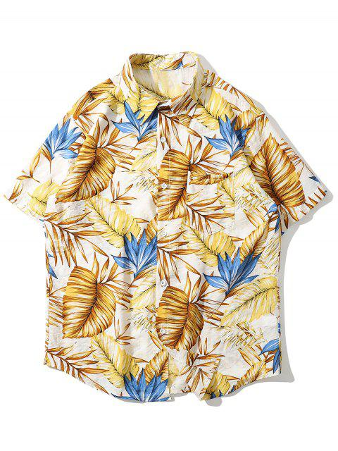 Tropical Leaves Print Pocket Beach Shirt - الأصفر 2XL Mobile