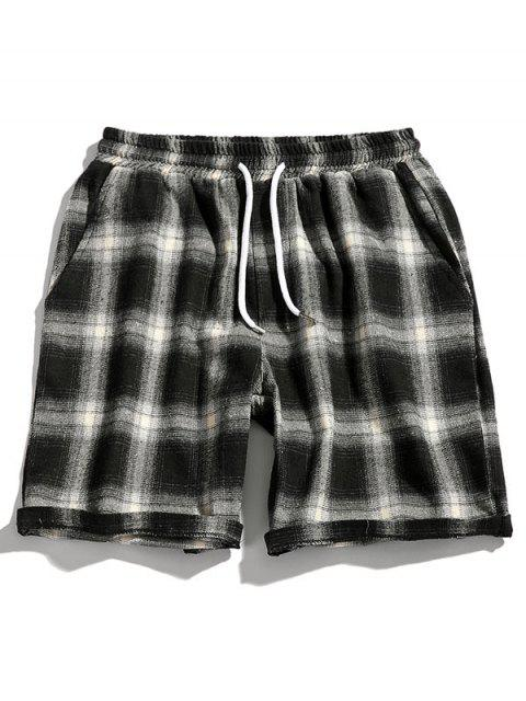 hot Drawstring Plaid Casual Shorts - WHITE XS Mobile