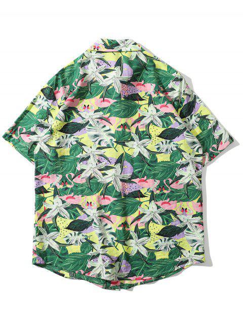 unique Tropical Flamingo Print Pocket Shirt - GREEN 2XL Mobile