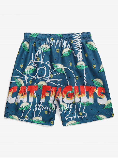 outfits Cartoon Space Ship Print Drawstring Shorts - BLUEBERRY BLUE S Mobile
