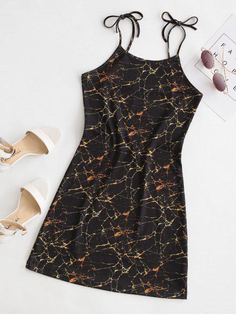 ladies Marble Print Tie Shoulder Mini Dress - BLACK M Mobile