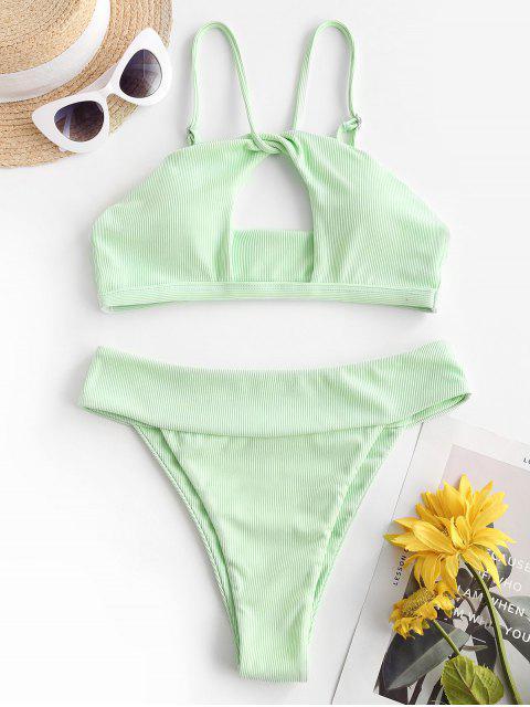 new ZAFUL Ribbed Twist Cutout Bikini Swimwear - LIGHT GREEN S Mobile