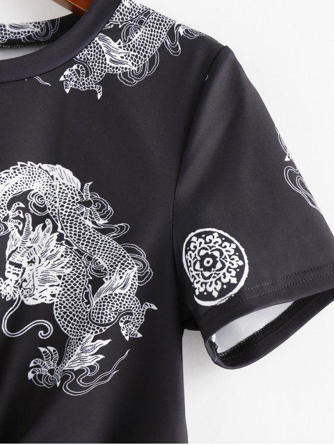 fashion ZAFUL Chinese Style Dragon Print Twist Tee - BLACK S Mobile