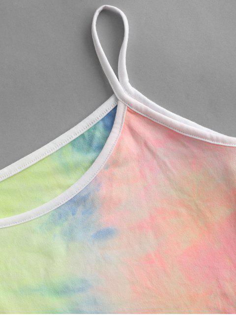 hot Contrast Trims Tie Dye Two Piece Set - MULTI S Mobile