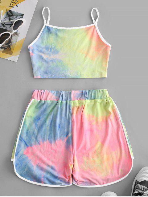 ladies Contrast Trims Tie Dye Two Piece Set - MULTI L Mobile