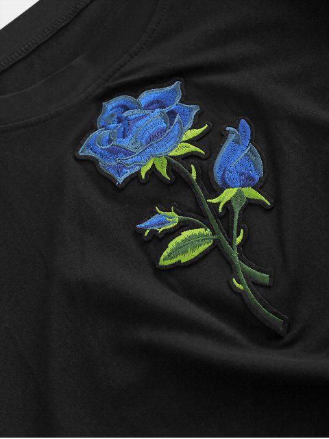 Gesticktes Kurzarm T-Shirt mit Blumenmuster - Schwarz L Mobile