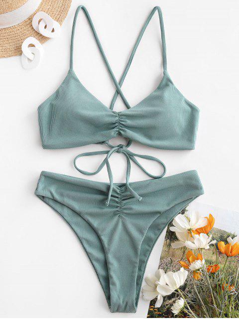 ladies ZAFUL Ribbed Lace-up Ruched Bikini Swimwear - GREEN S Mobile