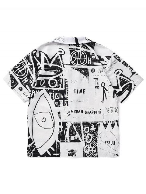 outfit Stick Figure Graffiti Side Slit Button Up Shirt - WHITE M Mobile