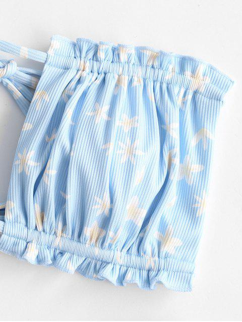 ladies ZAFUL Frilled Ribbed Ditsy Print Bandeau Bikini Swimwear - LIGHT BLUE L Mobile