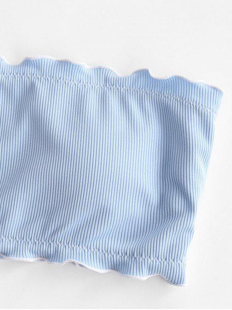 affordable ZAFUL Ribbed Lettuce Trim Ditsy Print Bandeau Bikini Swimwear - LIGHT BLUE L Mobile