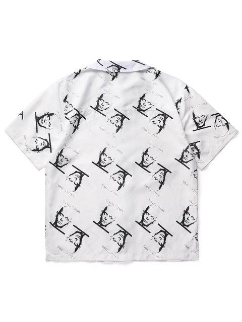 outfit Cool Men Print Turn Down Collar Short Sleeve Shirt - WHITE L Mobile