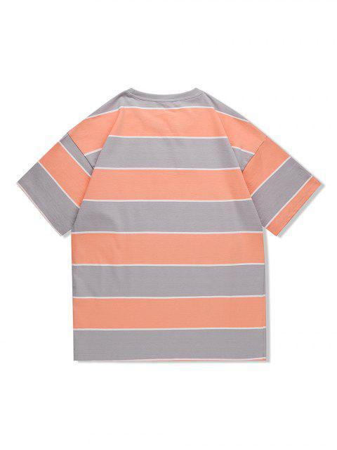 T-Shirt Casuale a Righe con Motivo Grafico di Lettere - Albicocca M Mobile