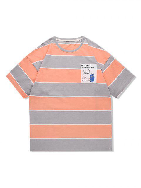 women Striped Pop Can Graphic Drop Shoulder Casual T Shirt - APRICOT L Mobile