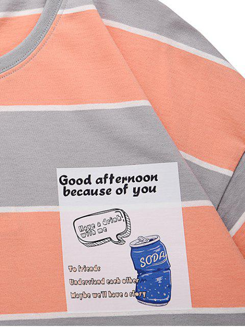 ladies Striped Pop Can Graphic Drop Shoulder Casual T Shirt - APRICOT 2XL Mobile