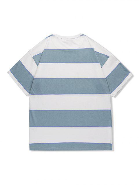 T-Shirt Casuale a Righe con Motivo Grafico di Lettere - Blu Grigio L Mobile