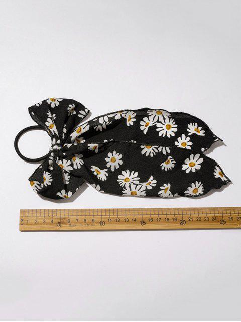 womens Daisy Print Bowknot Hair Elastic - BLACK  Mobile