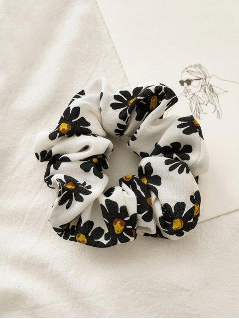 Chouchou Fleur Marguerite Imprimée en Tissu - Blanc  Mobile