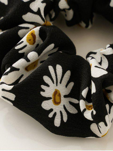 fashion Daisy Flower Print Fabric Scrunchy - BLACK  Mobile