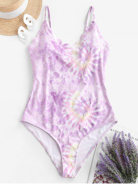 affordable ZAFUL Tie Dye Scalloped One-piece Swimsuit - LIGHT PURPLE S Mobile