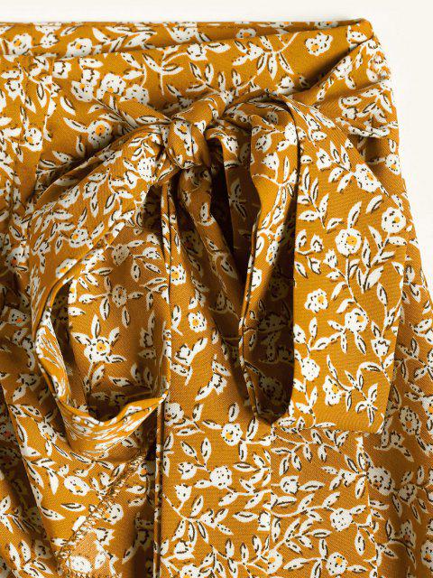 outfit Tiny Floral Ruffles Overlap Skirt - YELLOW L Mobile