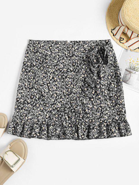 Tiny Floral Ruffles Overlap Skirt - أسود L Mobile
