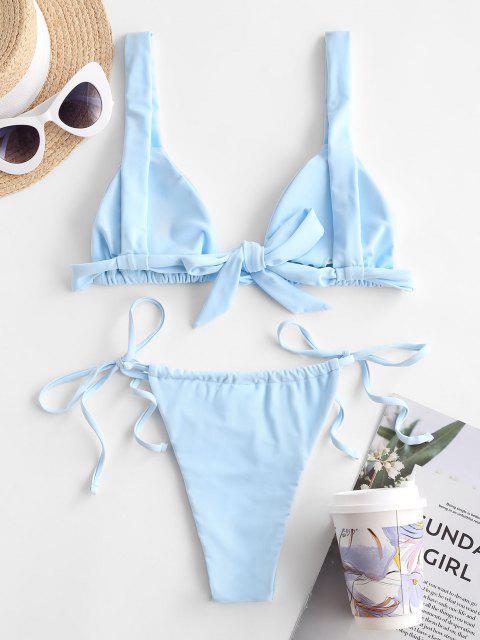 sale ZAFUL Tie String Bikini Swimwear - LIGHT BLUE L Mobile