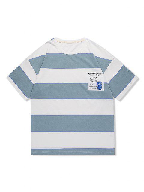 T-Shirt Casuale a Righe con Motivo Grafico di Lettere - Blu Grigio 2XL Mobile